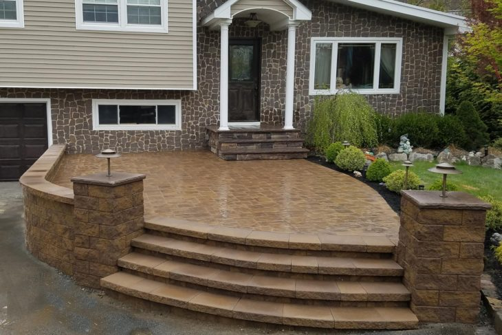 Front Entry Patio, Steps, Retaining Wall, and Columns